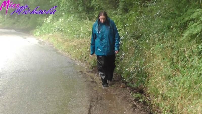 Michaela's Wet Rainwear & Muddy Puddle Splashing