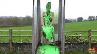 Debbie Gunged in Nylon Bridesmaid's Dress