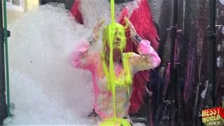 Human Carwash: Tamsin in PVC